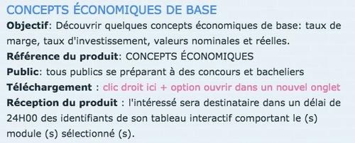 FICHE FORMATION - CONCEPTS ÉCONOMIQUES