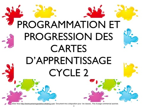 Cartes d'apprentissage CYCLE 2 tous domaines version 2013
