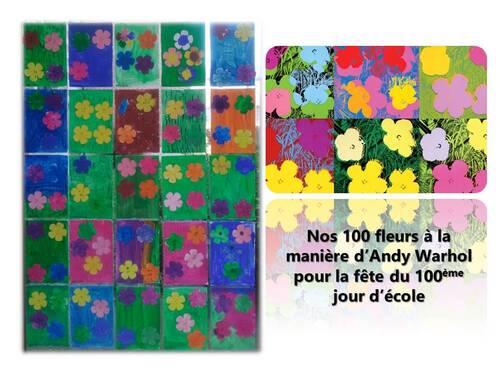 Nos 100 fleurs à la manière d'Andy Warhol