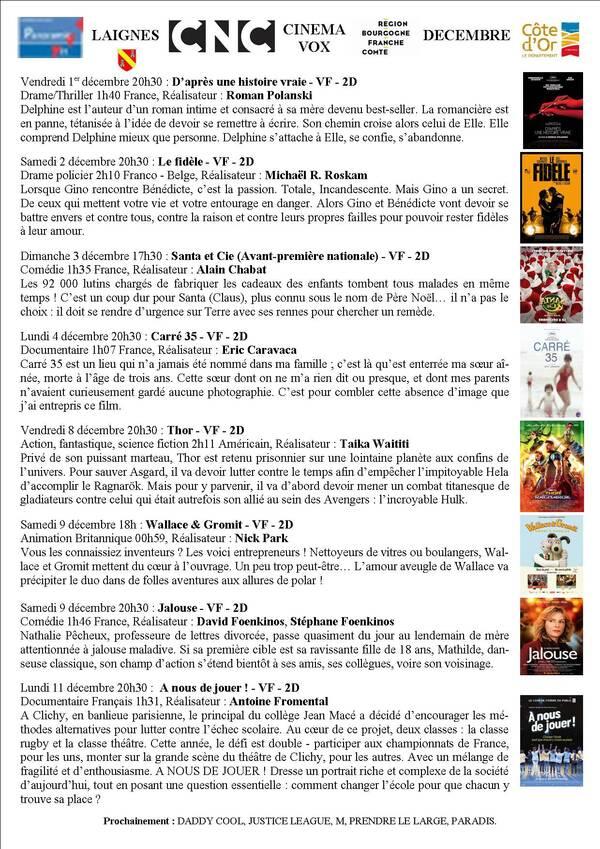 Programme du cinéma Vox de Laignes pour décembre 2017
