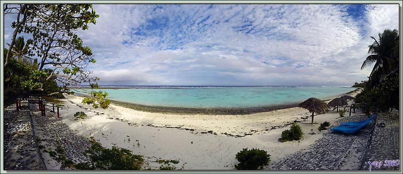 Plage et lagon côté océan de la pension Kuriri - Maupiti - Polynésie française
