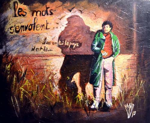 """"""" Anthropocène """" scène 3      Acrylique sur carton toilé 54X65"""