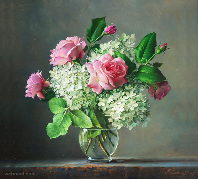 hyper realistic rose painting