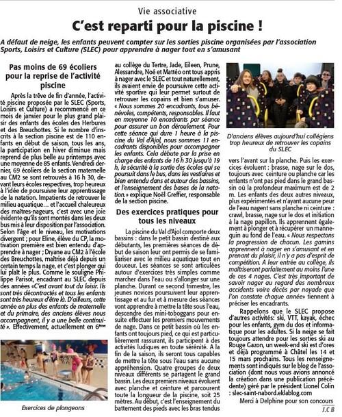 Article l'Echo des Vosges 16 Janvier 2020