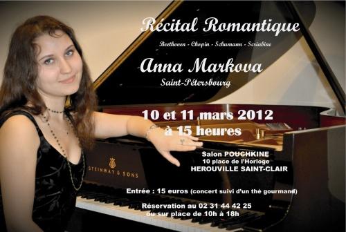 RECITAL - ANNA MARKOVA les 10et 11 Mars 2012 à Hérouville Saint-Clair