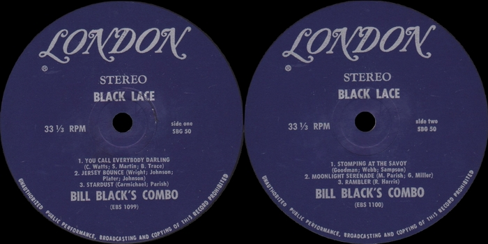"Bill Black's Combo : Album "" Black Lace "" Hi Records SKL 32033 [ US ]"