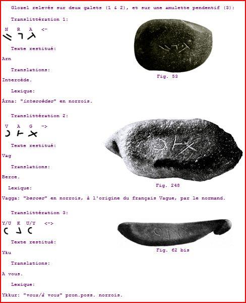 Glozel relevés sur deux galets (1 & 2), et sur une amulette pendentif (3):