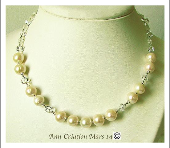Collier Perles de Culture Blanches, Cristal de Roche, Pierre de Lune / Argent 925