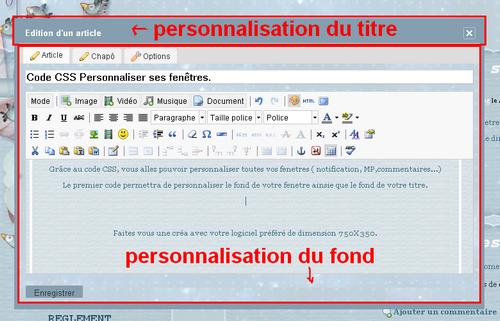 Code CSS Personnaliser ses fenêtres.