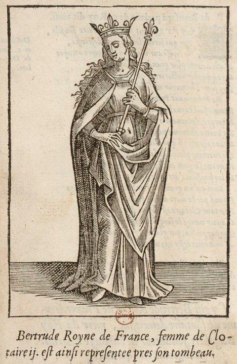 Estampe représentant Bertrude, épouse de Clotaire II, roi des Francs (début du VII<sup>e</sup> siècle)