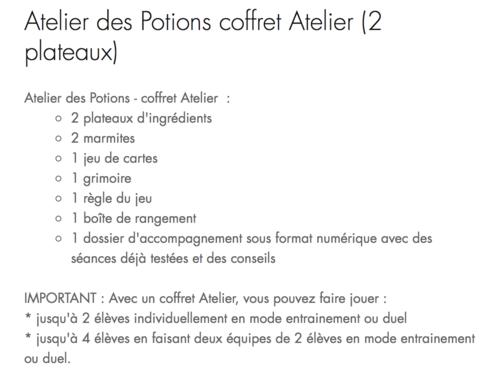 L'Atelier des Potions !!!