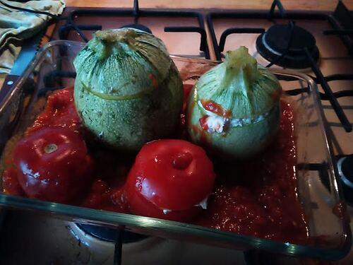 Courgettes et tomates farcies au fromage de Brebis