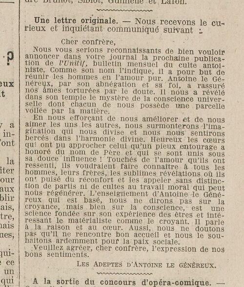 Unitif du Culte Antoiniste (Excelsior, 8 juillet 1911)