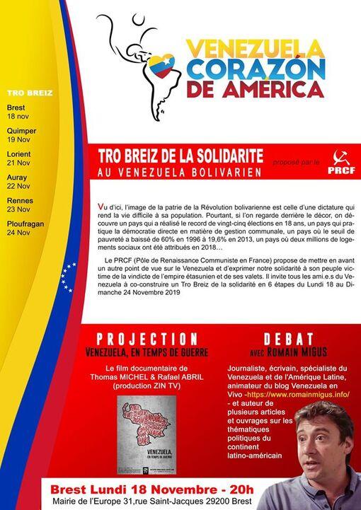 Le Tro Breiz de la Solidarité au Venezuela Bolivarien fait étape à Brest le Lundi 18 Novembre-20h-Mairie de l'Europe