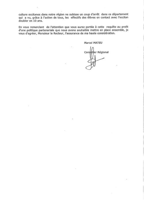 Lettre d'un Conseiller Régional au Recteur