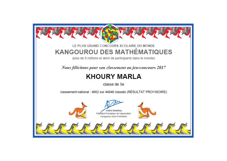 Résultats provisoires des élèves d'EB7 au concours Kangourou.