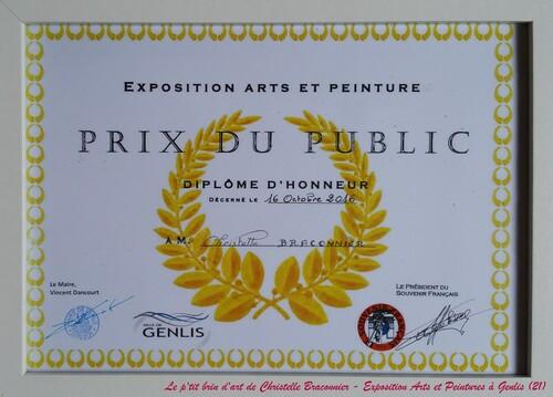 Octobre 2016 - Prix du Public à l'exposition Arts et Peinture à Genlis (21)
