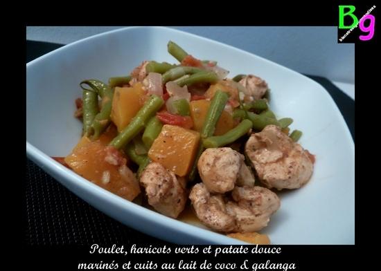 Poulet, patate douce et haricots verts au galanga