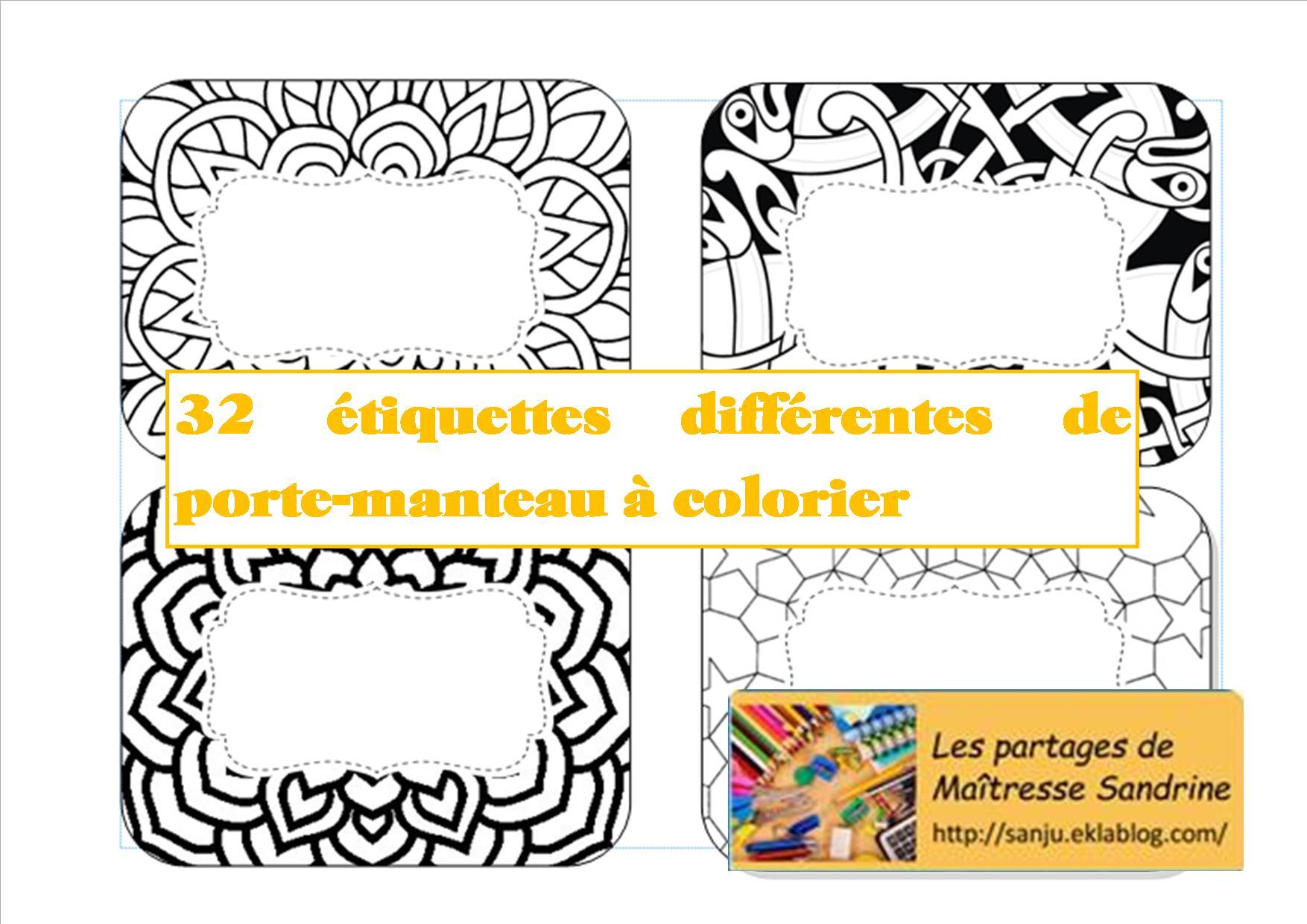 Etiquettes Porte Manteau A Colorier Les Partages De