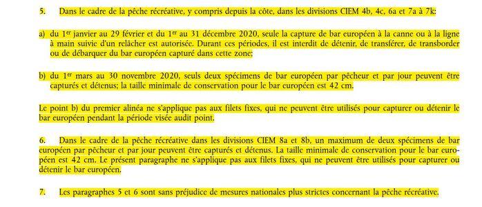 Réglement Européen 2020 pour la pêche du bar
