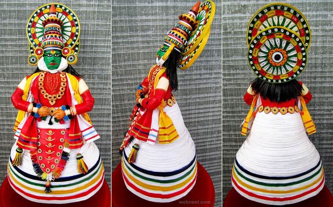 3d quilling art kathakali dancer