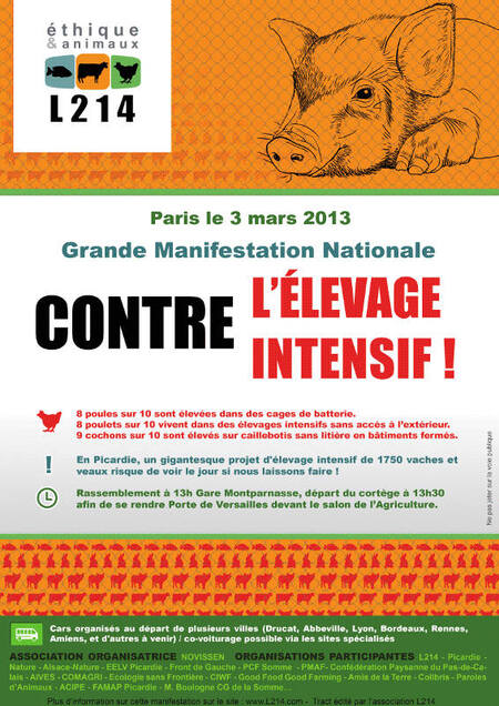 Marche contre l'élevage intensif - Paris, le 3 mars