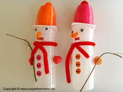 Bouteilles bonhommes de neige