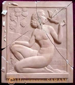 Bas-relief baigneuse de L. Gibert à restaurer - Arts et sculpture: sculpteur, artisan d'art