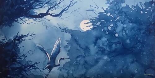 Dessin et penture - vidéo 2375 : Un clair de lune peint à l'aquarelle uniquement avec du bleu de Prusse.