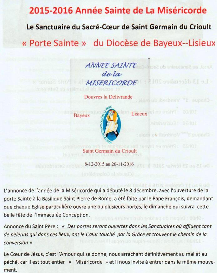 Programme Année Sainte SACRE-COEUR SAINT GERMAIN DU CRIOULT