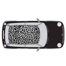 mise en situation sticker voiture léopard Noir & Blanc