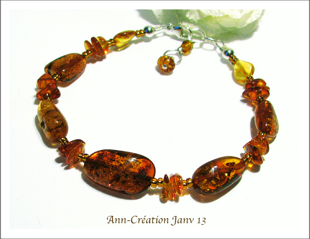Bracelet Ambre Naturelle de la Baltique / Argent 925
