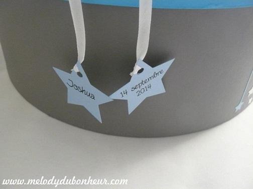 Urne baptême pêcheur d'étoiles en bleu lavande et gris acier