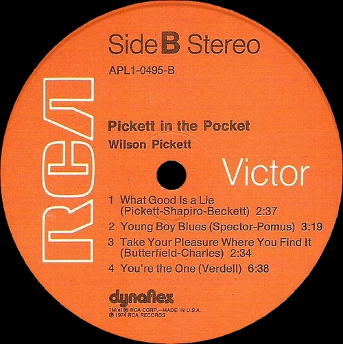 "Wilson Pickett : Album "" Pickett In The Pocket "" RCA Victor Records APL1-0495 [ US ]"
