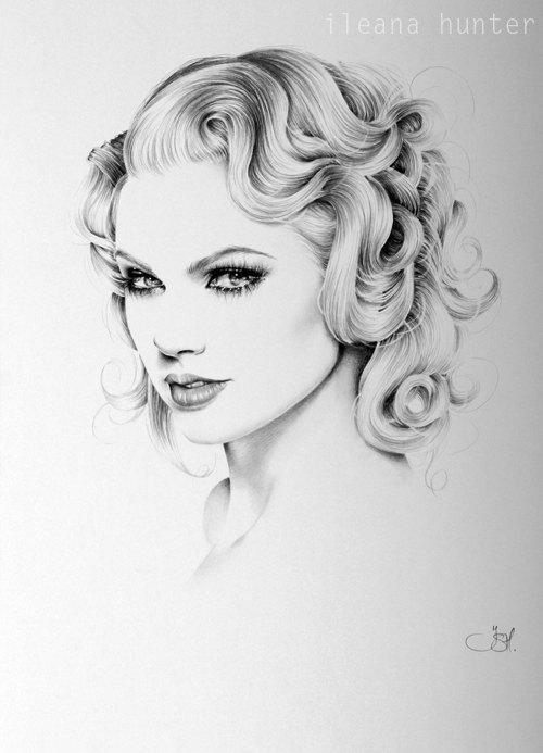 Taylor Swift crayon dessin Portrait tirage d'Art signé par l'artiste