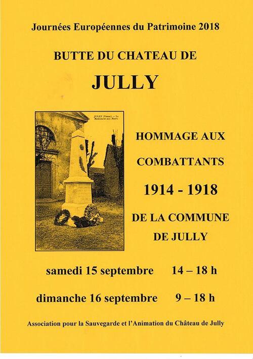 Une exposition sur les disparus de lma guerre 1914-1918 aura lieu à Jully pour les journées du Patrimoine