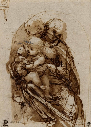 Leonardo da Vinci, Study for the Madonna of the Cat (verso) (cropped).jpg