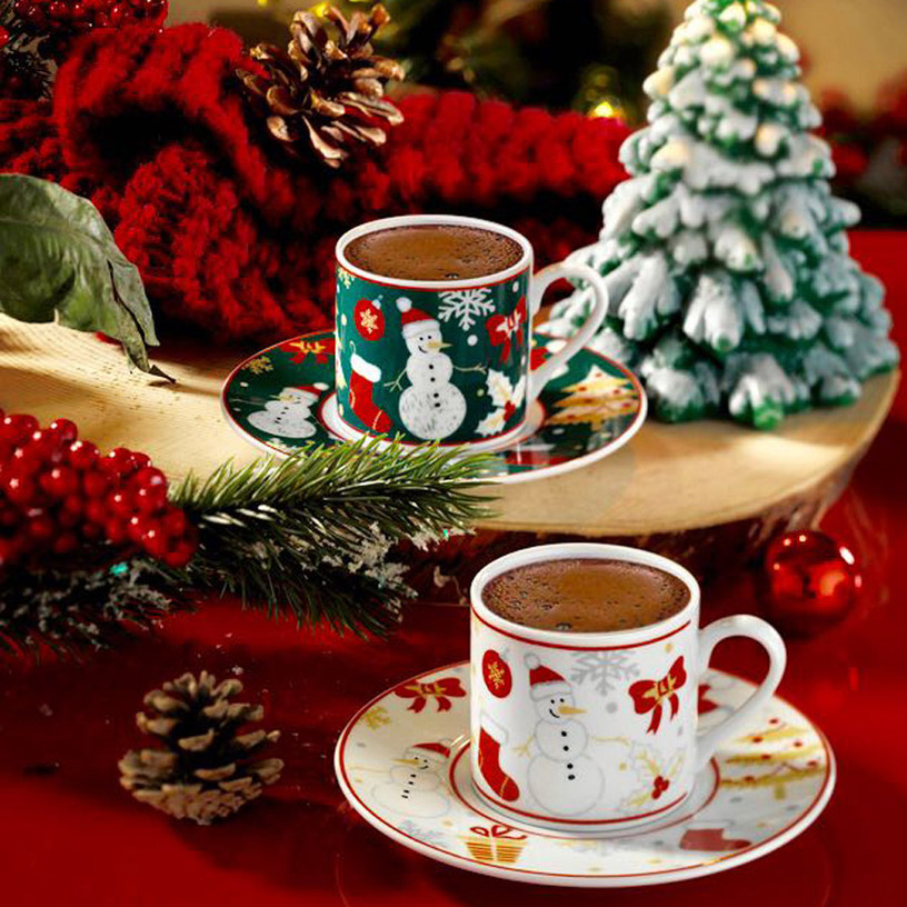 "Coffret de Tasses à Café ""Noel"" | Elegant Home Deco"