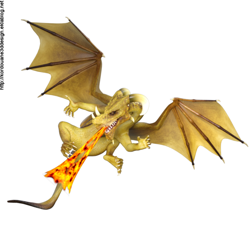 Tube de dragon jaune crachant du feu