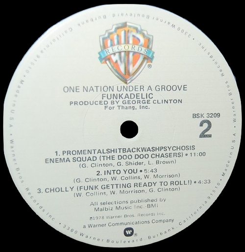 "Funkadelic : Album "" One Nation Under A Groove "" Warner Bros. Records BSK 3209 [ US ]"