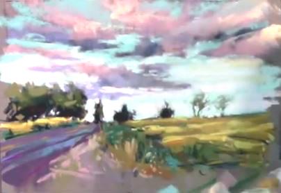 Dessin et peinture - vidéo 2006 : La douceur de vivre au crépuscule exprimée au pastel tendre.