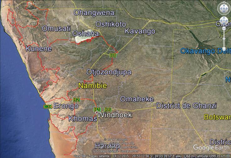 2017 Namibie itinéraire