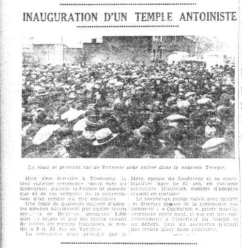Inauguration d'un temple antoiniste (L'Egalité Roubaix-Tourcoing, 13 Décembre 1937)