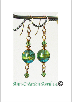 Boucles Verre de Murano authentique Aqua & Feuille d'Or  24 Kt / Plaqué Or 14 kt Gold Filled