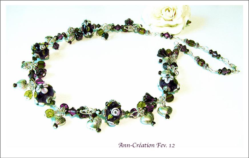 Collier Grappe Verre Lampwork Fleurs Violet-Vert / Plaqué Argent - Argent 925
