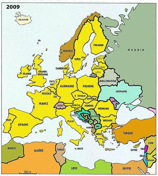 L'Union européenne en 2009 et le reste de l'Europe géogra