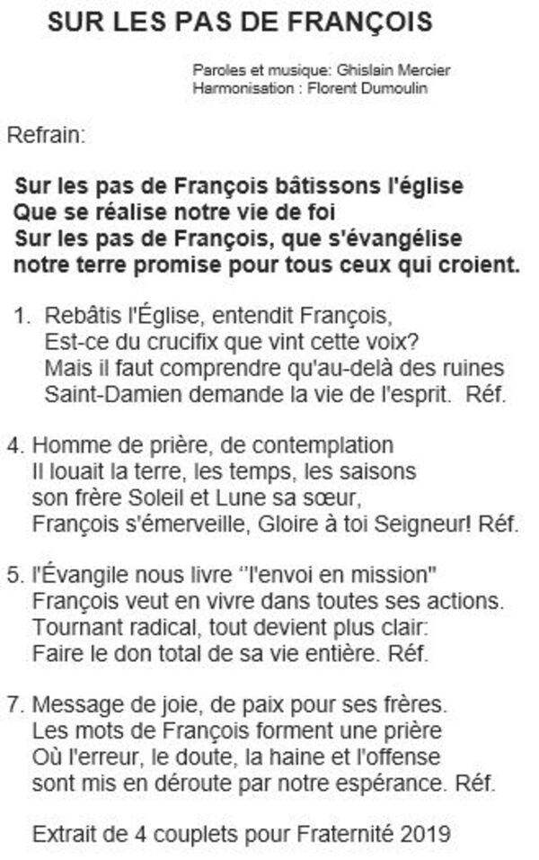 Chant sur les pas de François