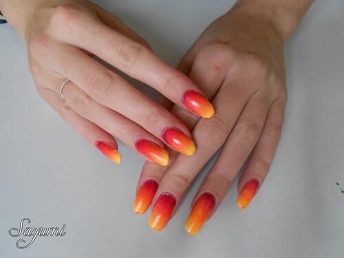 Nail Art Gradient Automnal de Feu