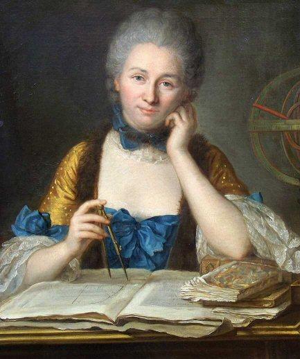 Portrait de Gabrielle Emilie, Marquise du Châtelet par Maurice Quentin de la Tour (coll. privée, Choisel, Château de Breteuil)
