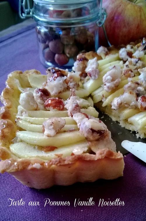 Tarte aux pommes vanillées et noisettes